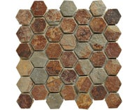 Mosaïque pierre naturelle multicolor hexagone