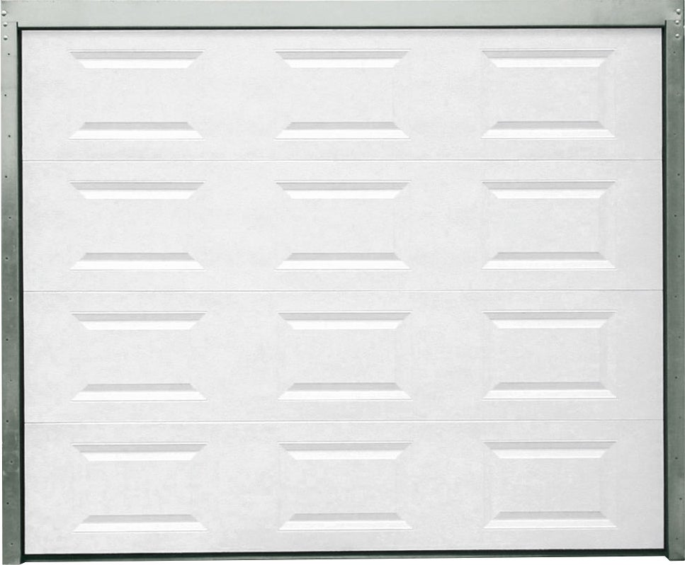 Porte de garage sectionnelle motoris e blanche h200xl240 bricoman - Dimension porte de garage sectionnelle ...