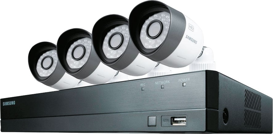 kit de vid osurveillance 4 cam ras et enregistreur 1 to samsung bricoman. Black Bedroom Furniture Sets. Home Design Ideas