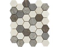 Mosaïque travertin hexagone gris mix