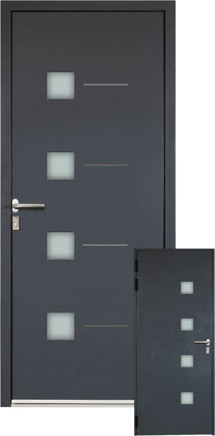 porte d entr e aluminium paxos grise h215xl90 gauche. Black Bedroom Furniture Sets. Home Design Ideas
