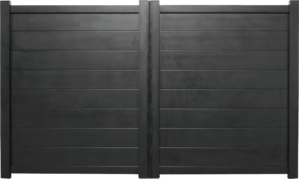 portail aluminium m coulissant clermont noir bricoman. Black Bedroom Furniture Sets. Home Design Ideas