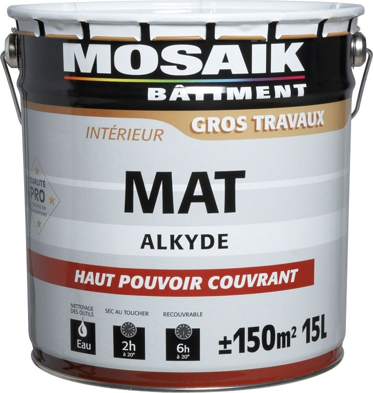 mosaik peinture alkyde mulsion mate blanc 4 l bricoman. Black Bedroom Furniture Sets. Home Design Ideas
