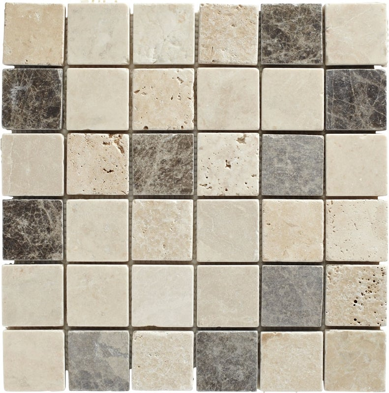 mosaïque travertin mix gris 4,8 x 4,8 | bricoman
