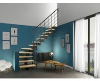 escalier sapin 1 4 tournant bas droit rampe fuseaux a. Black Bedroom Furniture Sets. Home Design Ideas