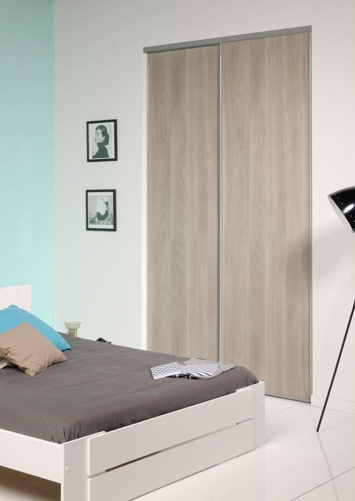 pack 2 vantaux portes de placard coulissantes decor gris silex 2 bricoman. Black Bedroom Furniture Sets. Home Design Ideas
