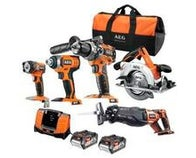 PACK BOIS 5 OUTILS + 2 BATTERIES AEG