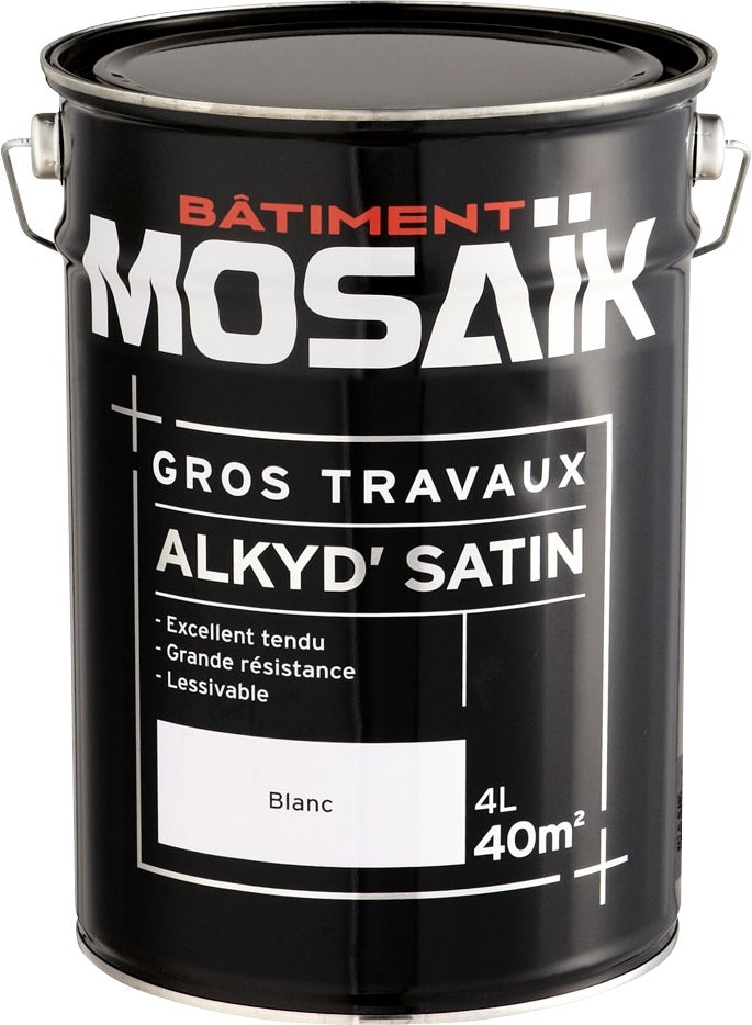 mosaik peinture alkyde mulsion satin e blanc 4 l bricoman. Black Bedroom Furniture Sets. Home Design Ideas