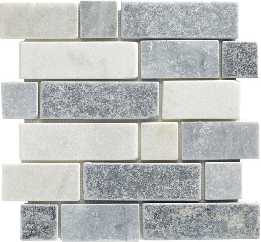 mosaïque travertin barettes mix gris | bricoman