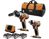 LOT PERCEUSE + VISSEUSE A CHOC 18V + 3 BATTERIES 4AH AEG