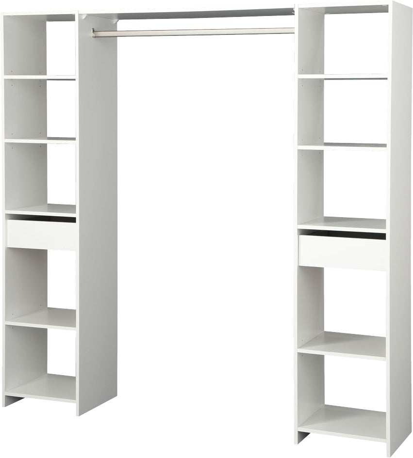 kit rangement basic blanc 2 colonnes de 40cm penderie bricoman. Black Bedroom Furniture Sets. Home Design Ideas