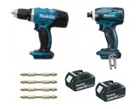 Lot Perceuse + Visseuse à Choc 18V MAKITA inclus 2 batteries 3AH en coffret makpac
