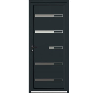 porte d entr e aluminium bologne grise h215xl90 droit bricoman. Black Bedroom Furniture Sets. Home Design Ideas